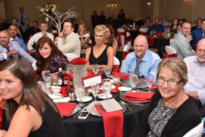 happy guests at wedding reception