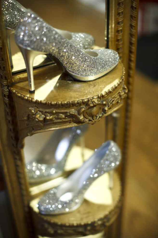 silver bridal wedding shoes