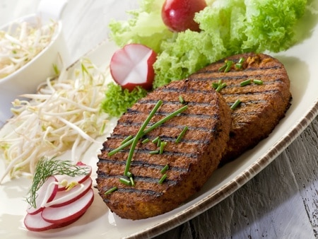 vegetarian hamburger with soy sprout radish and salad