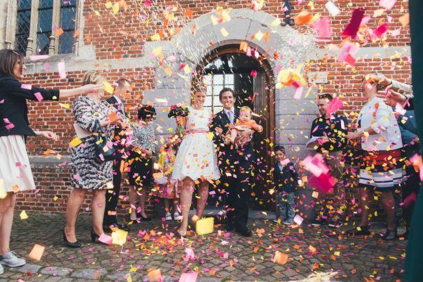 Heidi & Luke - confetti toss after wedding ceremony