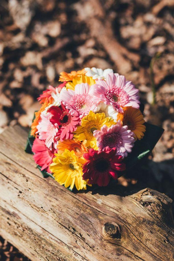 Heidi & Luke - bridal bouquet gerber daisies