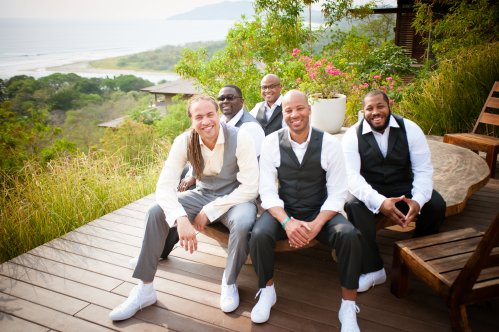 groom and groomsmen in gray