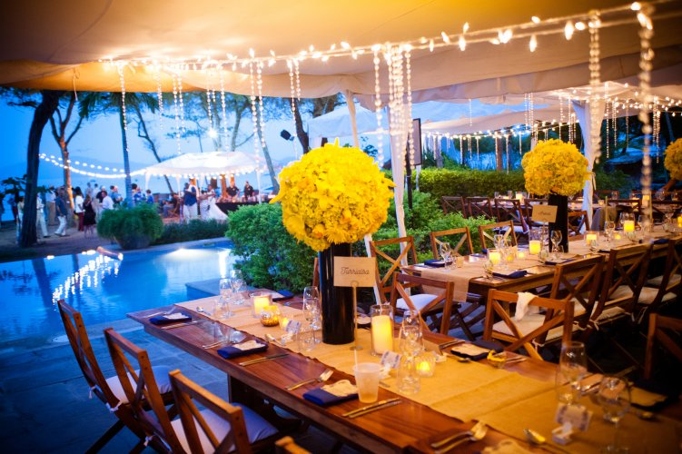 Blue and yellow wedding reception Costa Rica