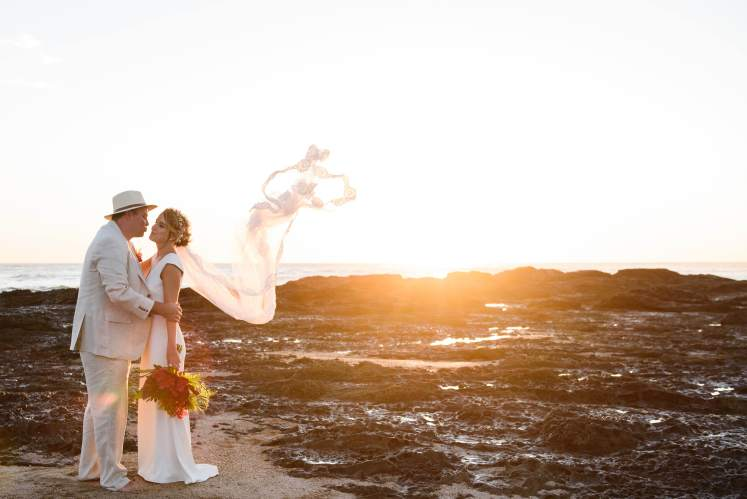 beach elopement at sunset