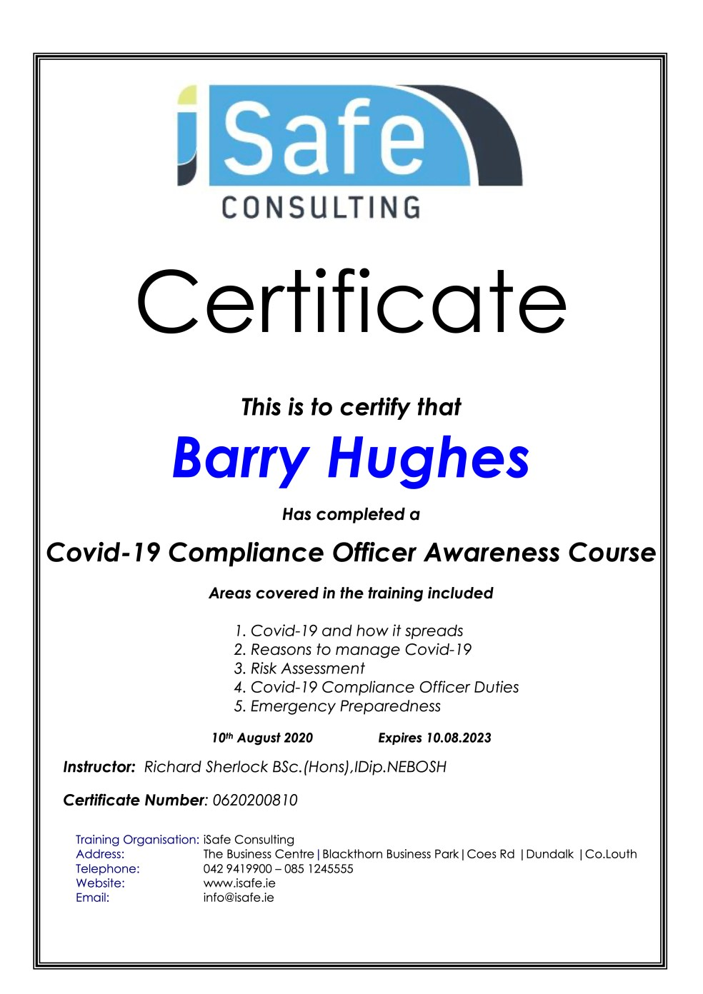 Barry Hughes - Wedding Singer Eire - Covid-19 training.