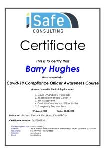 Barry Hughes - Wedding Singer Eire - Covid-19 training.