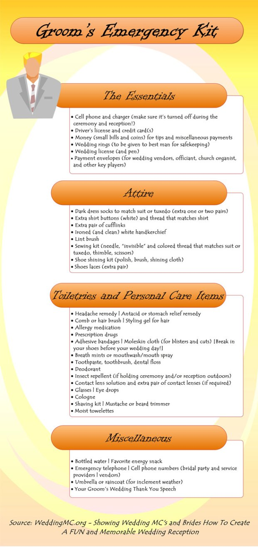 Groom's Emergency Kit Checklist