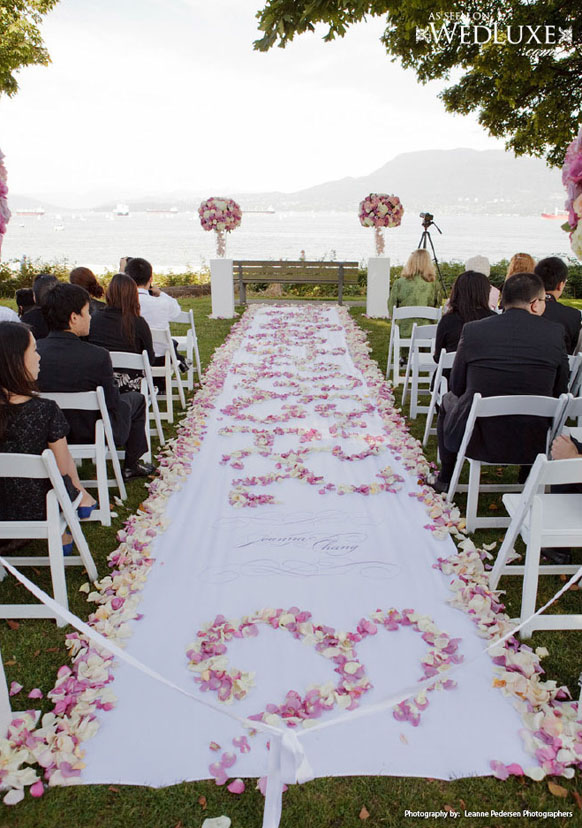 Tropical Stone Destination Wedding Ceremony Aisle Decor