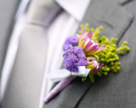 Wedding Lavender Boutonniere Idea