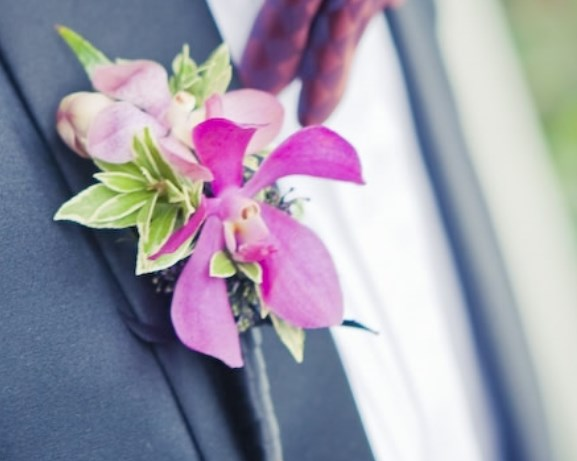 Wedding Tropical Pink orchid Boutonniere