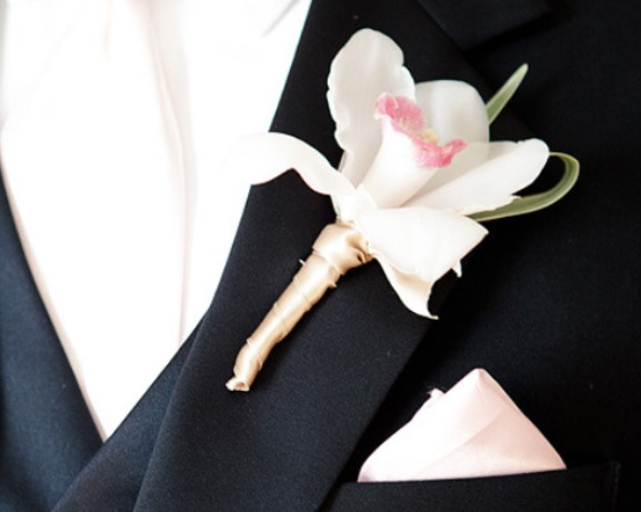 Wedding White Orchid Boutonniere idea