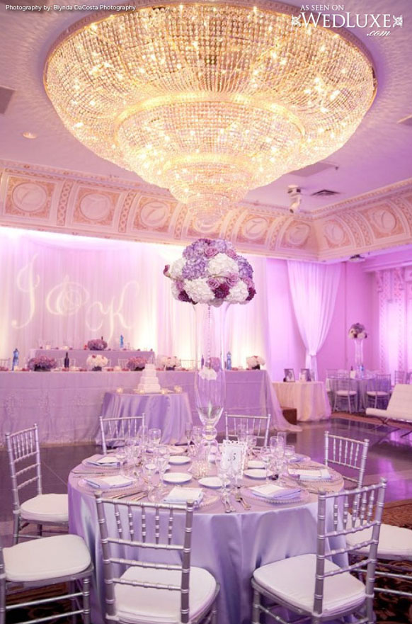 luxury silver and purple reception table decorations