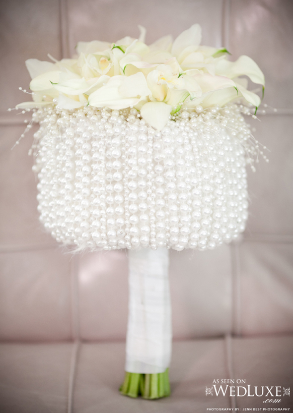 Luxury white wedding bouquet with pearls