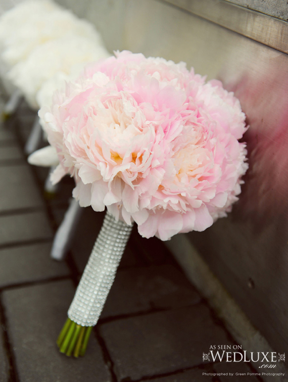 luxury pink with crysatl handle wedding bouquet