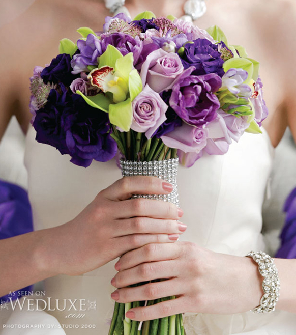 luxury purple and grenn orchids bouquet