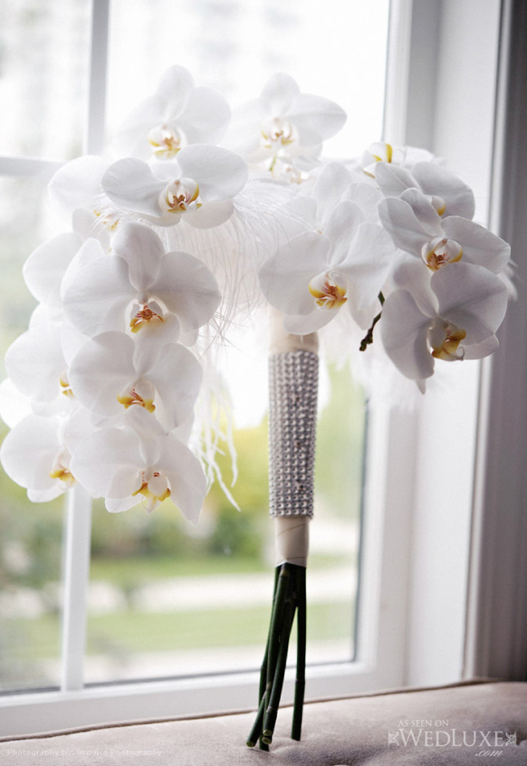 luxury white orchid  wedding bouquet with crystal bling handle