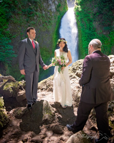 The gorgeous ceremony site at Wahclella Falls