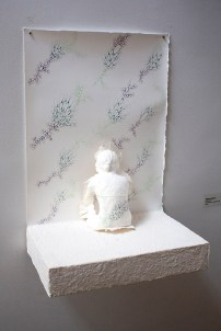 "Deborah Baldizar, ""Wall Flower"", handmade cast, paper, ink"