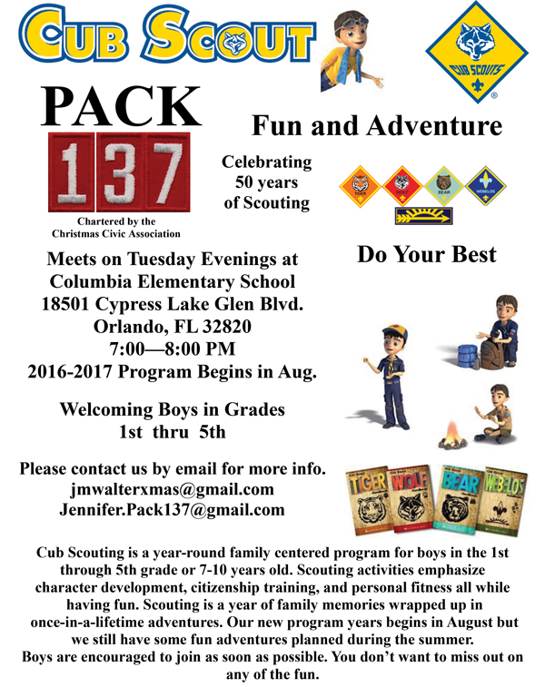 Cub Scout Pack 137 Sponsored By Christmas Civic