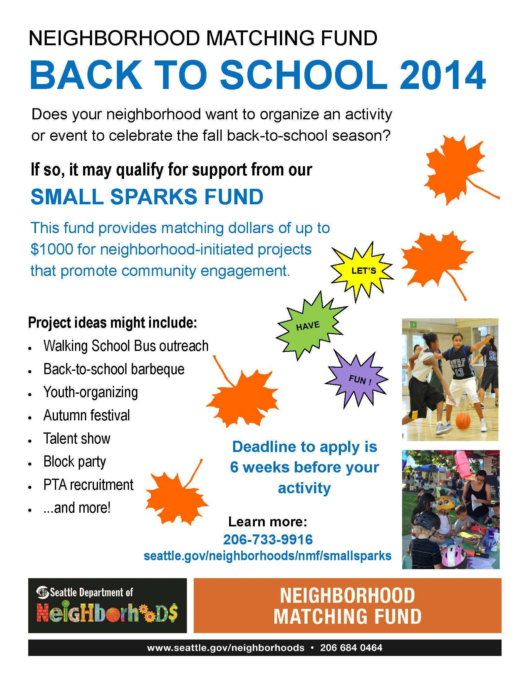Neighborhood Matching Fund For Back To School Projects