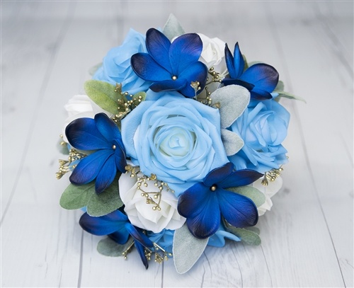 Blue Plumeria, Roses And Gold Detail Real Touch Wedding