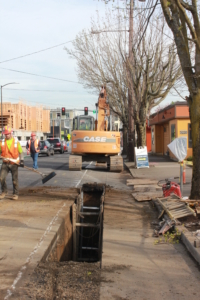 Installing mainline sewer in N. Williams Ave.
