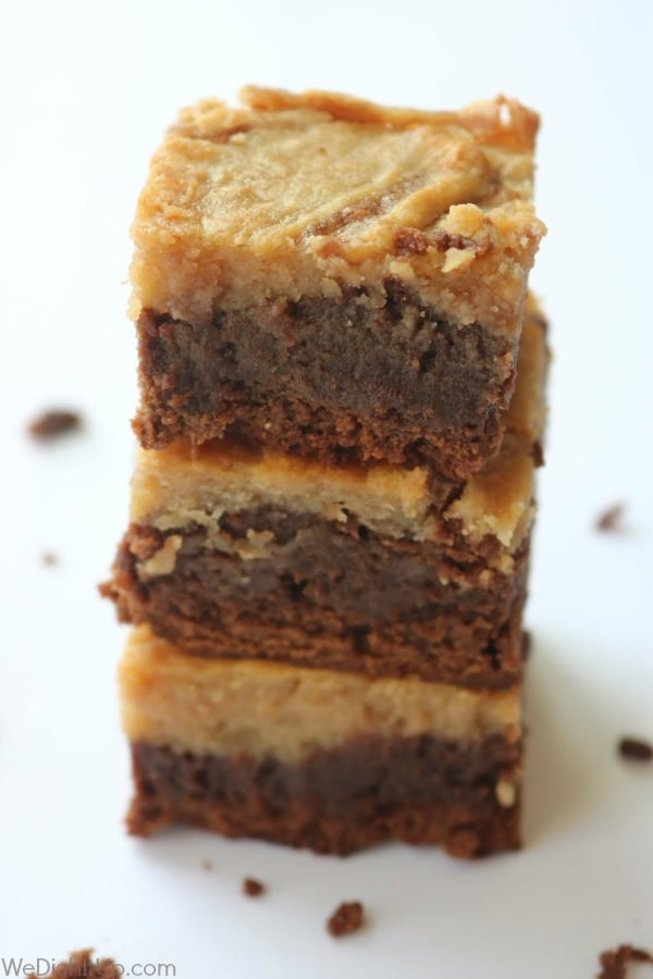 Peanut Butter Cheesecake Brownies -stacked