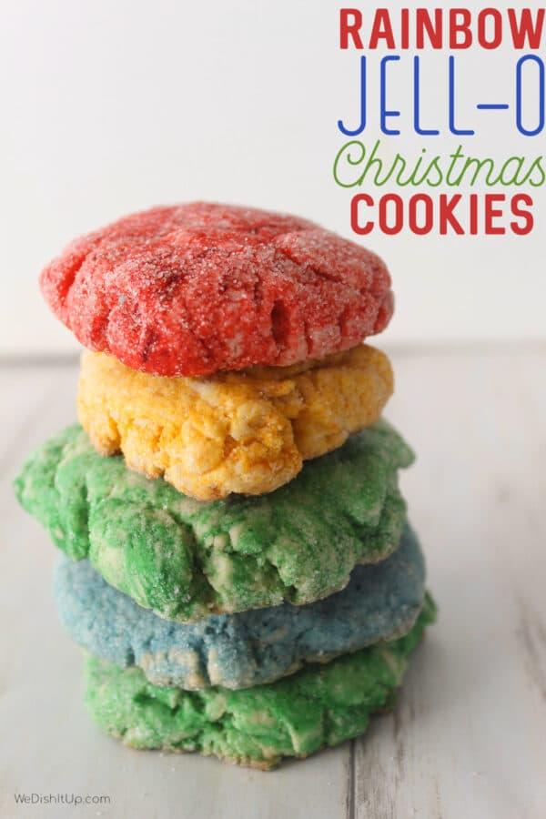 Rainbow Jello Christmas Cookies