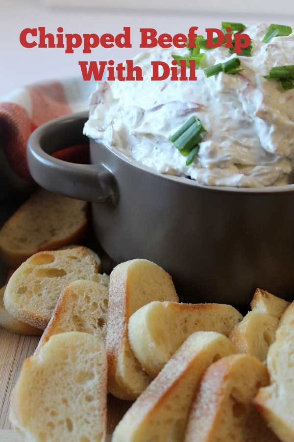 Dip with bread in the front