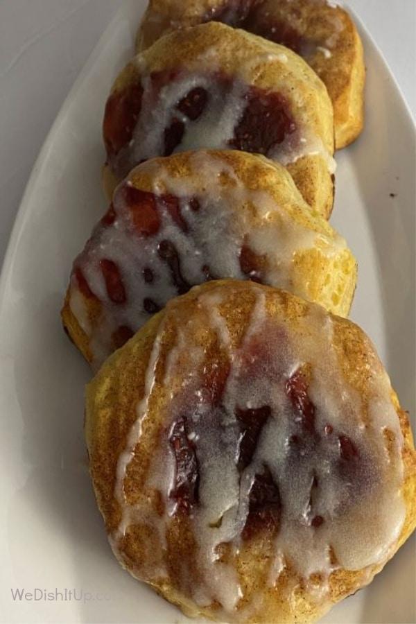 3 Raspberry Danishes on plate