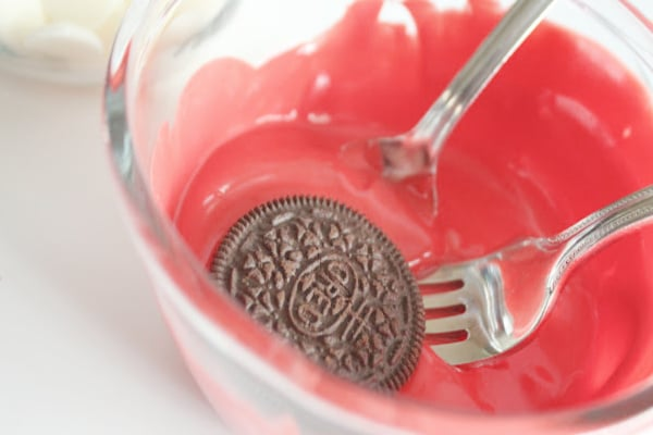 Dipping Oreo in Red Chocolate