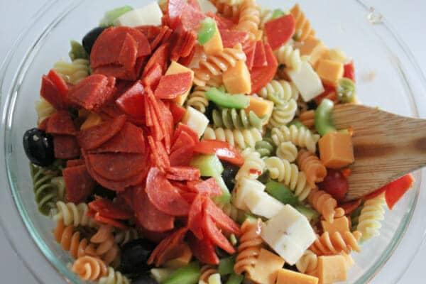 Stirring Pasta Salad