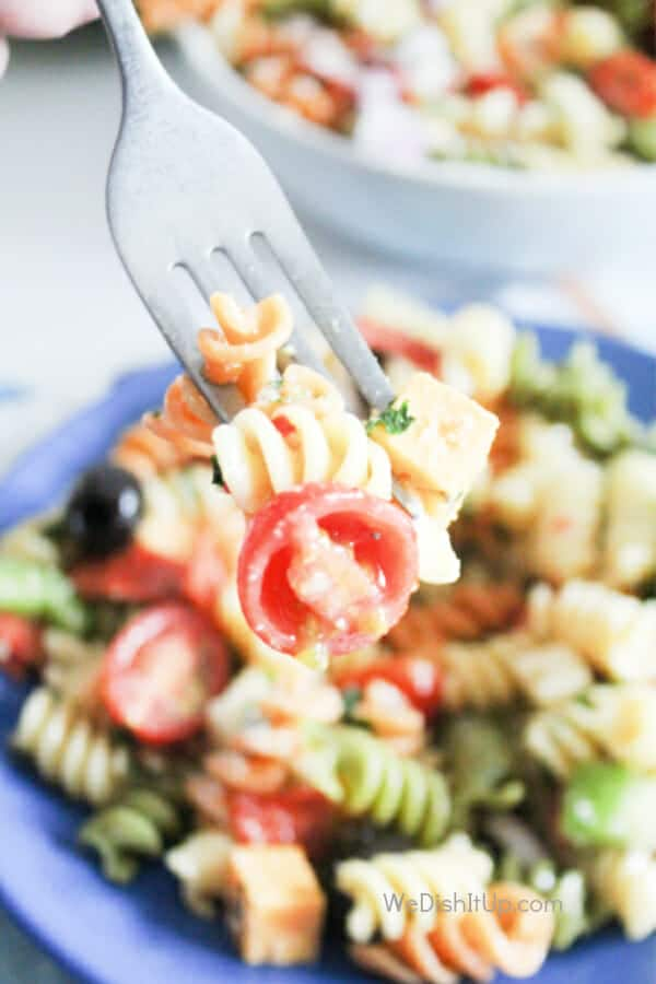 Pasta salad on fork