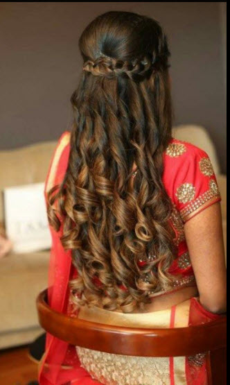 ... The Hair And Top Part Is Structured With A Beautiful Single Plait Which  Comes Like A Crown In The Hair For Bride.Best Suits For Long Hair Indian  Bride.