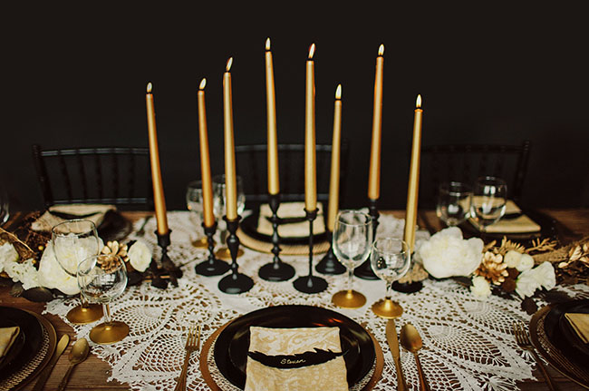 Black and Gold wedding theme  We Do Dream Weddings