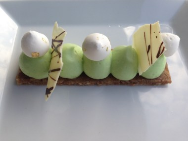 Lime pie, walnut and date crust, lime cream and meringue