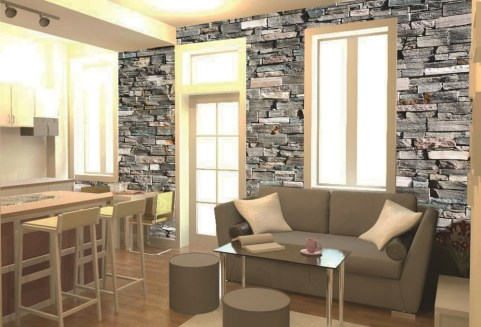 Wedowallpaper, apartment with brick slate wallpaper, interior design, home, bespoke wallpaper