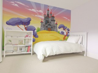 Wedowallpaper, Girls bedroom with feature cartoon princess castle printed wallpaper, bespoke interior design.