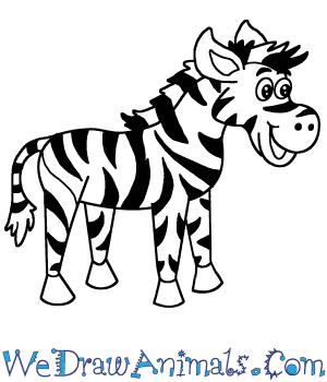 zebra cartoon draw easy steps tutorial