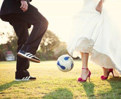 fotbalová svatba - souboj nevěsta/ženich