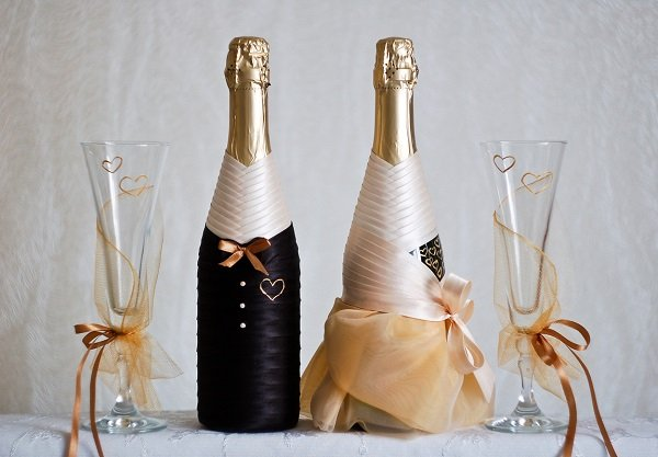 Esküvői fellendülés folytatódik. Esküvői pezsgő dekorációja. 1. rész, Photo № 32