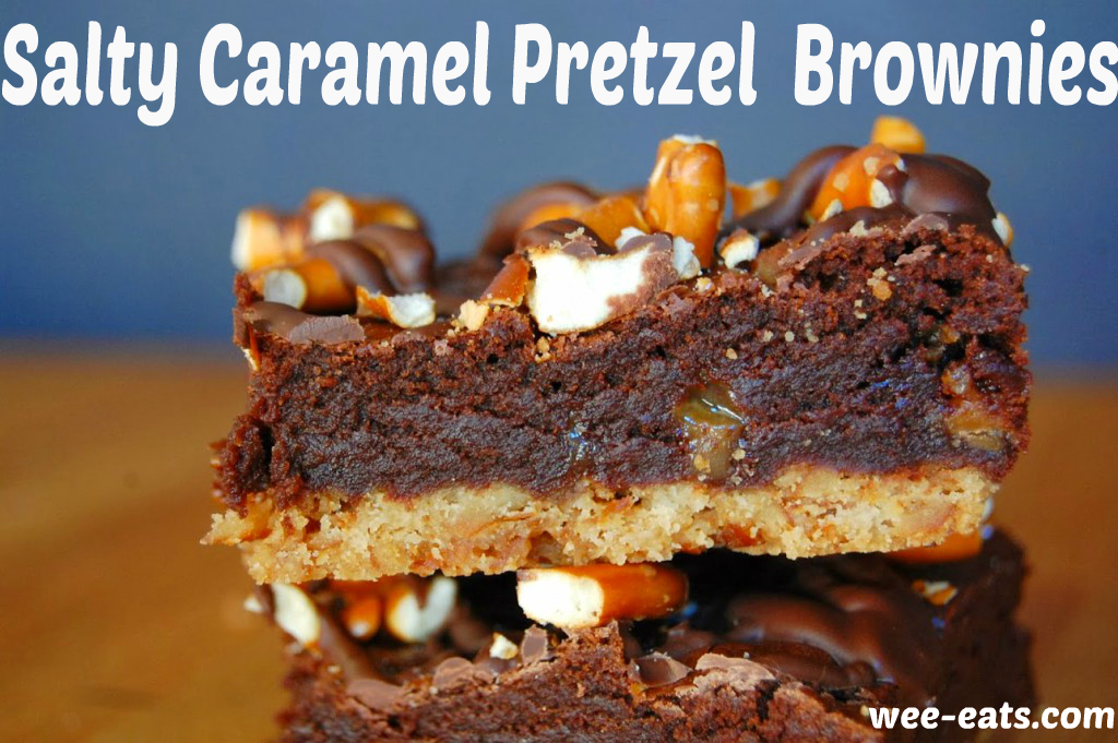 salty caramel pretzel brownie pin
