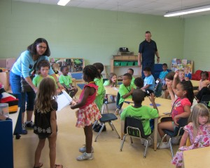 Phil & Debbie teaching preschoolers at a local child development center