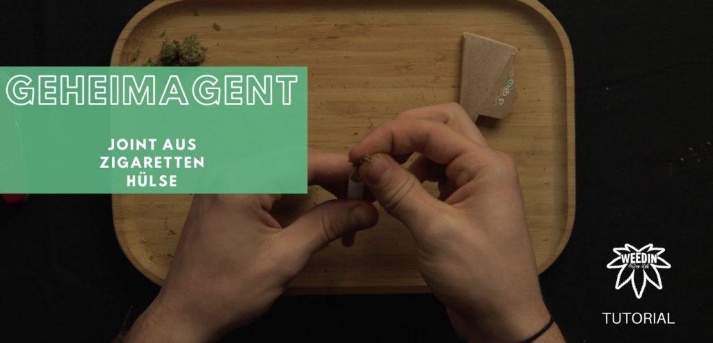 Geheimagent Joint aus Zigarettenhülse selber bauen Tutorial Wie dreht man ihn und wozu ist das gut? Cannabis in einer Zigaretten Hülse