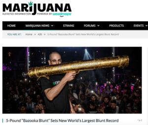 Cannabis Weltrekord größter Blunt der Welt 2017 Los Angeles Bazooka Blunt