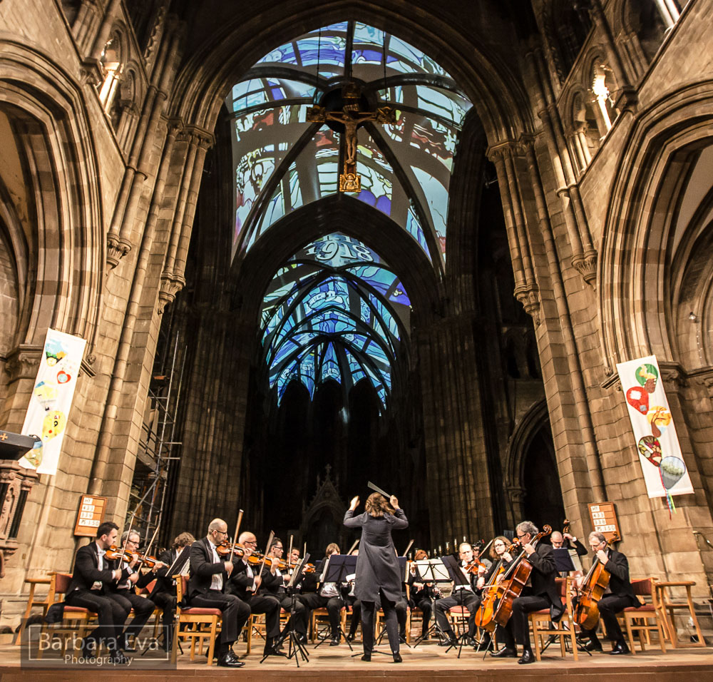 Architectural 3D projection mapping cathedral edinburgh orchestra