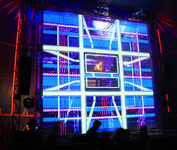 Projection mapping on a cube stage,  Starfields Music Festival 2009 Scotland