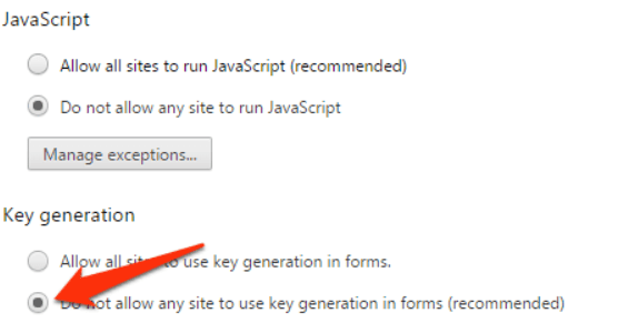 Disable JavaScript in Google Chrome