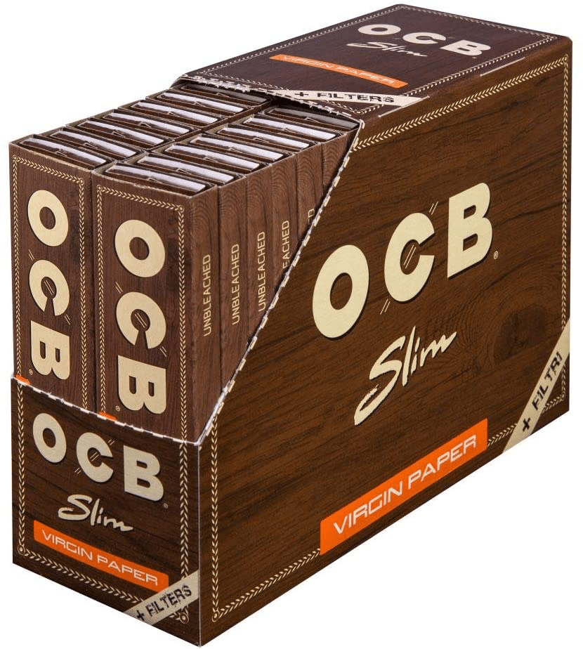 OCB VIRGIN SLIM Unbleached Rolling Paper King Size + FILTER TIPS