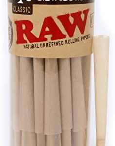 RAW Cones Classic King Size | 100 Pack | Natural Pre Rolled Rolling Paper With Tips & Packing Sticks Included